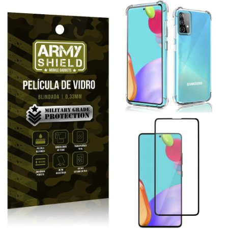 Kit Anti Impacto Galaxy A52 Capinha Anti Impacto + Película de Vidro 3D - Armyshield