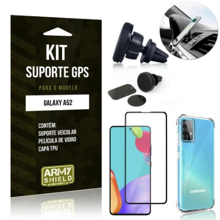Kit Suporte Veicular Magnético Galaxy A52 + Capa Anti Impacto +Película Vidro 3D - Armyshield
