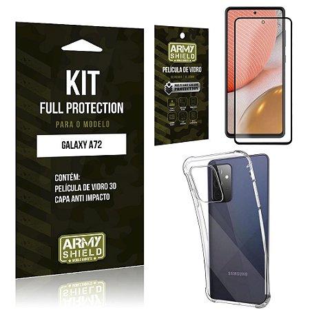Kit Full Protection Galaxy A72 Película de Vidro 3D + Capa Anti Impacto - Armyshield
