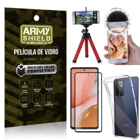 Kit Tripé Flex + Flash Ring Galaxy A72 + Capa + Película 3D