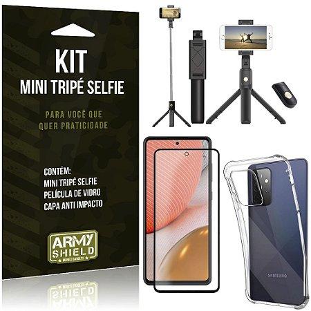 """Kit Bastão Selfie Bluetooth com Tripe para Galaxy A72 6,7"""" + Capa + Película 3D"""