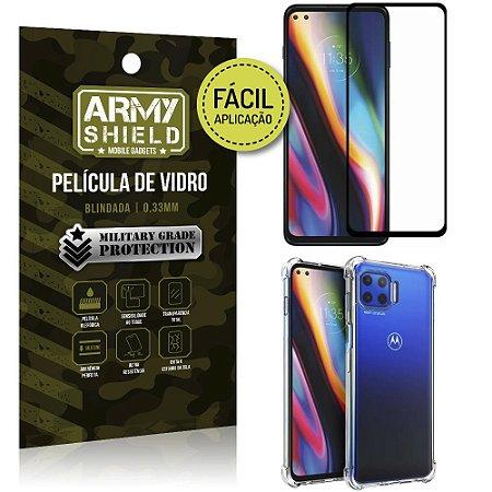 Kit Película 3D Fácil Aplicação Moto G 5G Plus Película 3D + Capa Anti Impacto - Armyshield