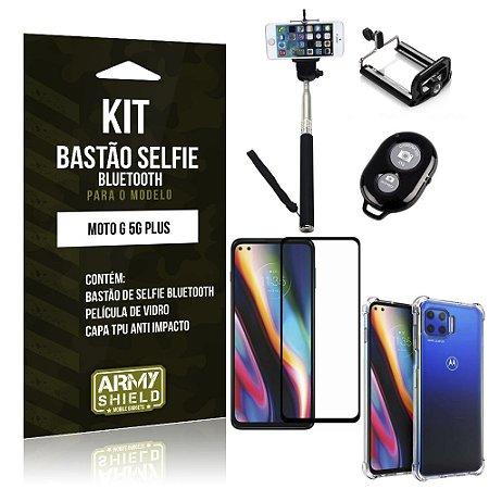 Kit Bastão de Selfie Bluetooth Moto G 5G Plus +Capinha Anti Impacto +Película Vidro 3D - Armyshield