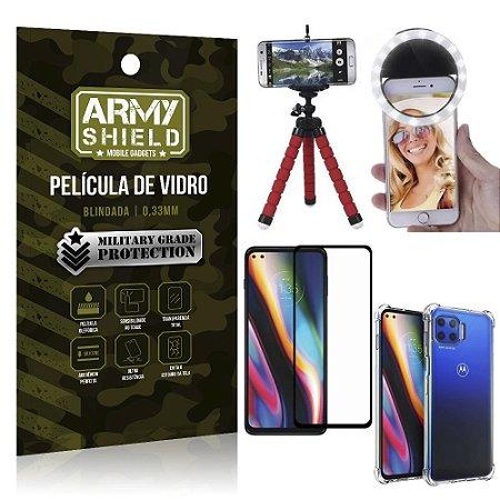 Kit Tripé Flex + Flash Ring Moto G 5G Plus + Capa + Película 3D