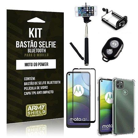 Kit Bastão de Selfie Bluetooth Moto G9 Power +Capinha Anti Impacto +Película Vidro 3D - Armyshield