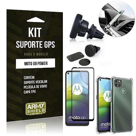 Kit Suporte Veicular Magnético Moto G9 Power + Capa Anti Impacto +Película Vidro 3D - Armyshield