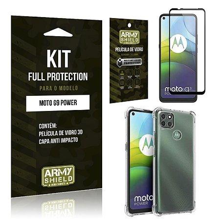 Kit Full Protection Moto G9 Power Película de Vidro 3D + Capa Anti Impacto - Armyshield