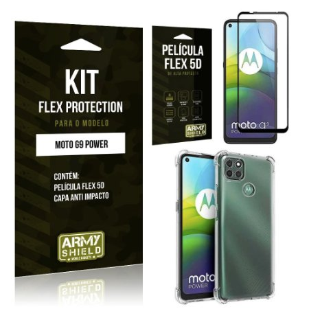 Kit Flex Protection Moto G9 Power Capa Anti Impacto + Película Flex 5D - Armyshield