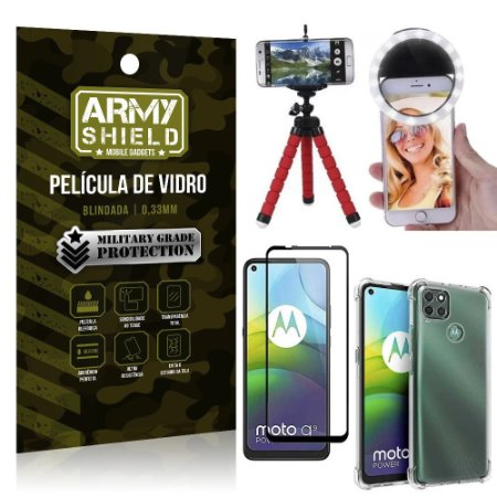 Kit Tripé Flex + Flash Ring Moto G9 Power + Capa + Película 3D