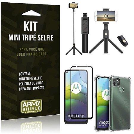 """Bastão Selfie Bluetooth com Tripé para Moto G9 Power 6,8"""" + Capa + Película 3D"""
