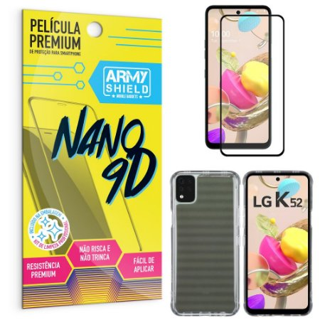 Kit Película Premium Nano 9D para LG K52 + Capa Anti Impacto - Armyshield