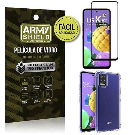 Kit Película 3D Fácil Aplicação LG K62 Película 3D + Capa Anti Impacto - Armyshield