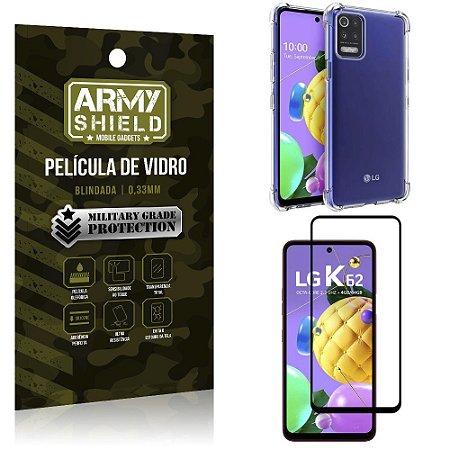 Kit Anti Impacto LG K62 Capinha Anti Impacto + Película de Vidro 3D - Armyshield