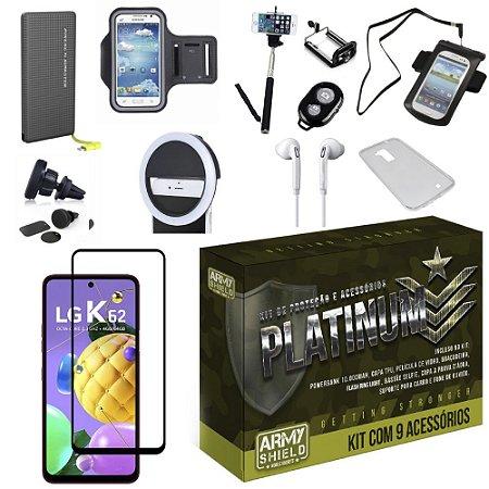 Kit Platinum LG K62 com 8 Acessórios + Carregador Portatil 10k Tipo C - Armyshield