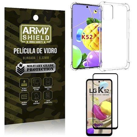 Kit Anti Impacto LG K52 Capinha Anti Impacto + Película de Vidro 3D - Armyshield