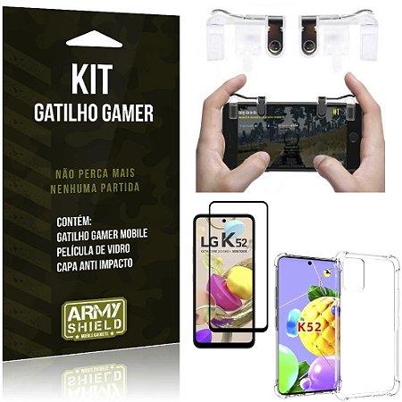 Kit Gatilho Gamer LG K52 Gatilho + Capa Anti Impacto + Película Vidro 3D - Armyshield