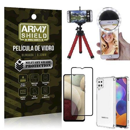 Kit Tripé Flex + Flash Ring Galaxy A12 + Capa + Película 3D