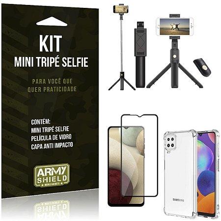 """Kit Bastão Selfie Bluetooth com Tripé para Galaxy A12 6,5"""" + Capa + Película 3D"""