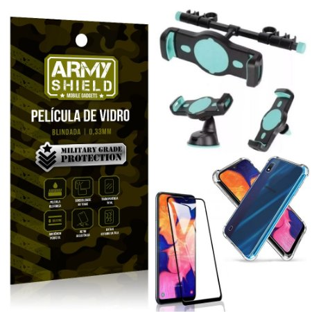 Kit Suporte Veicular 3 em 1 Galaxy A10 + Película 3D + Capa Anti Impacto - Armyshield