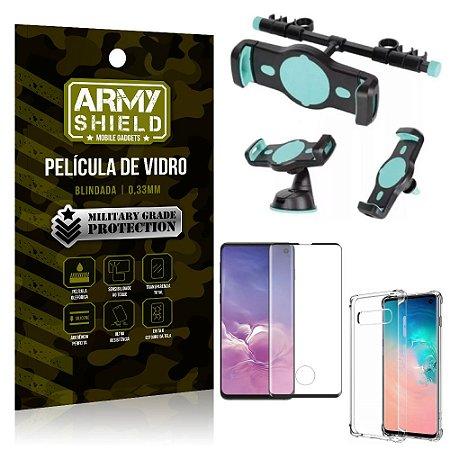 Kit Suporte Veicular 3 em 1 Galaxy S10 + Película 3D + Capa Anti Impacto - Armyshield