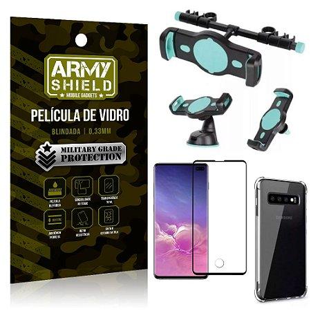 Kit Suporte Veicular 3 em 1 Galaxy S10 Plus + Película 3D + Capa Anti Impacto - Armyshield
