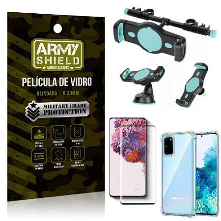 Kit Suporte Veicular 3 em 1 Galaxy S20 + Película 3D + Capa Anti Impacto - Armyshield