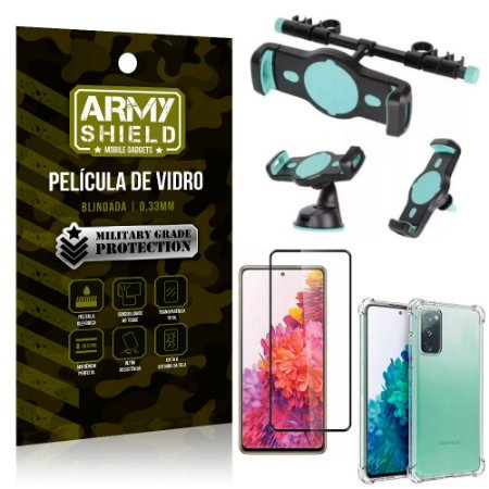 Kit Suporte Veicular 3 em 1 Galaxy S20 FE + Película 3D + Capa Anti Impacto - Armyshield