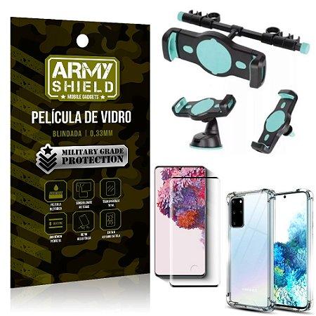 Kit Suporte Veicular 3 em 1 Galaxy S20 Plus + Película 3D + Capa Anti Impacto - Armyshield