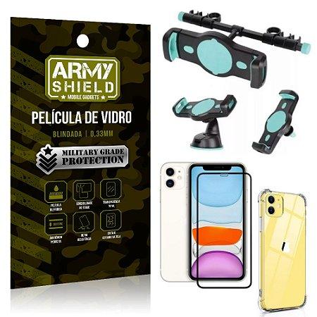 Kit Suporte Veicular 3 em 1 iPhone 11 6.1 + Película 3D + Capa Anti Impacto - Armyshield