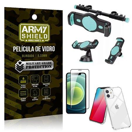 Kit Suporte Veicular 3 em 1 iPhone 12 Mini 5.4 + Película 3D + Capa Anti Impacto - Armyshield