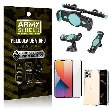 Kit Suporte Veicular 3 em 1 iPhone 12 Pro Max 6.7 + Película 3D + Capa Anti Impacto - Armyshield