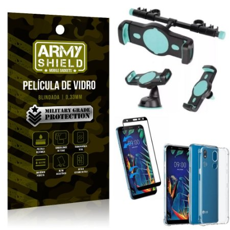 Kit Suporte Veicular 3 em 1 LG K12 K12 Plus + Película 3D + Capa Anti Impacto - Armyshield