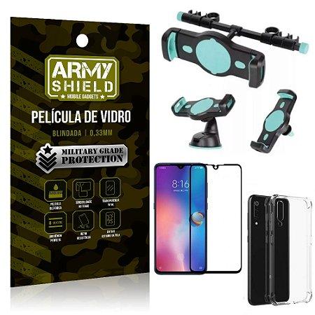 Kit Suporte Veicular 3 em 1 Mi 9 + Película 3D + Capa Anti Impacto - Armyshield