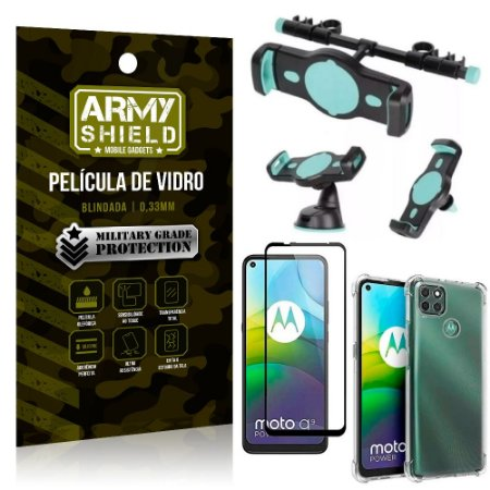 Kit Suporte Veicular 3 em 1 Moto G9 Power + Película 3D + Capa Anti Impacto - Armyshield