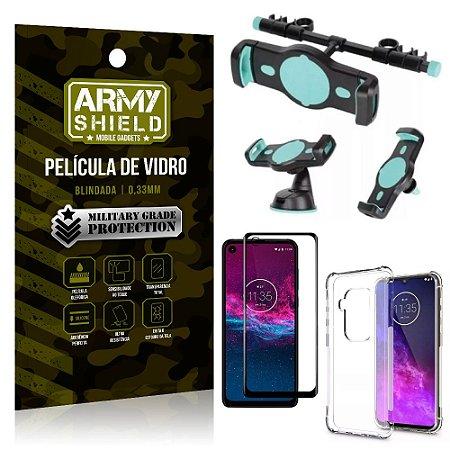 Kit Suporte Veicular 3 em 1 Moto One Zoom + Película 3D + Capa Anti Impacto - Armyshield