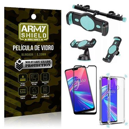 Kit Suporte Veicular 3 em 1 Zenfone Max Pro M2 ZB631KL + Película 3D + Capa Anti Impacto -Armyshield