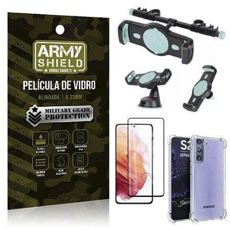 Kit Suporte Veicular 3 em 1 Galaxy S21 + Película 3D + Capa Anti Impacto - Armyshield