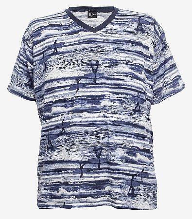 Camiseta Estampada Gola V Marinho