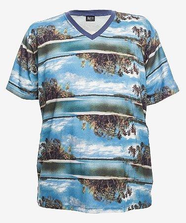 Camiseta Estampada Gola V Turquesa