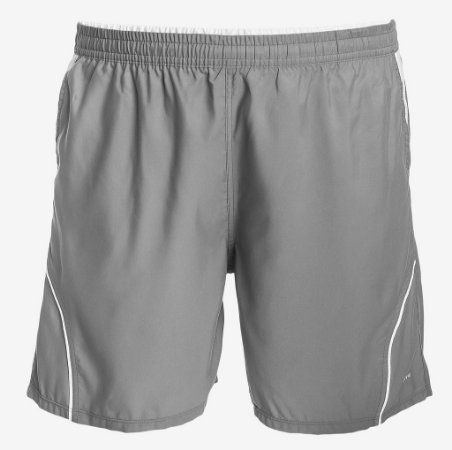 Shorts Tactel Cinza e Branco