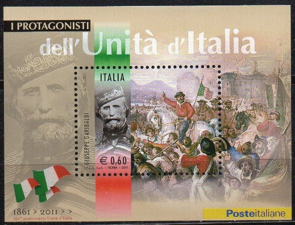 2011 Itália - Bloco 150º da Unificação  G. Garibaldi O Protagonista da Itália unida