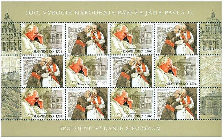 2020 - Eslováquia Papa João Paulo II - 100 anos 0 linda folha
