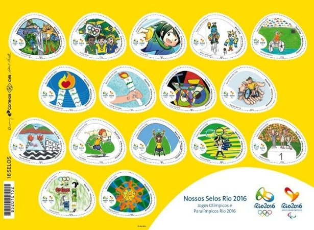 2016 Folha Nossos Selos - Jogos Olímpicos e Paralímpicos Rio 2016 - selos autoadesivos