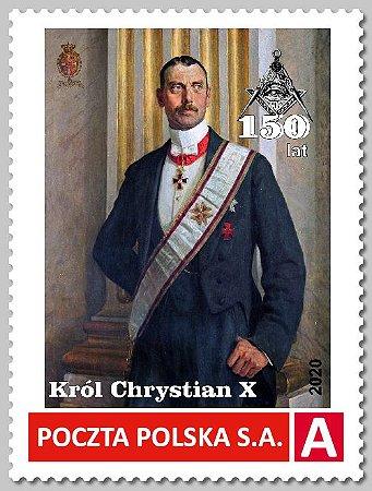 Polônia - Rei Cristiano X - 150 anos de nascimento - maçom