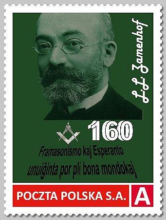 2019 Polônia - Lázaro Luiz Zamenhof - 160 anos -  maçom esperantista