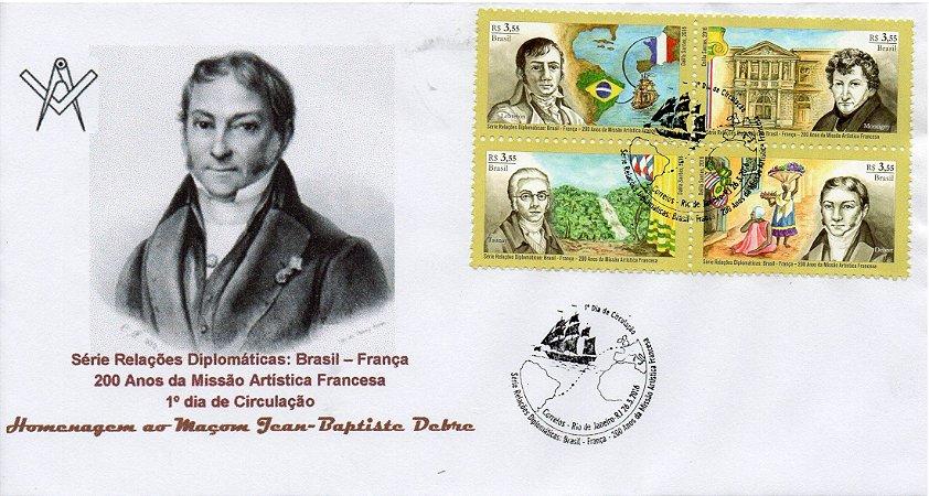 2016 FDC Maçom Jean-Baptiste Debret - Série Relações Diplomáticas Brasil França