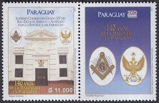 2011 Paraguai 140 anos da Maçonaria Paraguaia (selo com vinheta) Mint