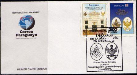 2011 Paraguai FDC 140 anos da Maçonaria Paraguaia