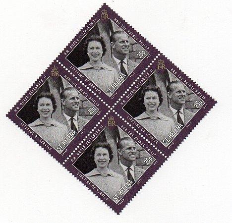 2011 Santa Helena (Ilh Britânica) Quadra de selo 25p Príncipe Felipe e Rainha Elizabeth II