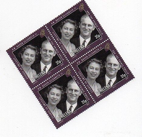 2011 Santa Helena (Ilh Britânica) Quadra de selo  35p Príncipe Felipe e Rainha Elizabeth II